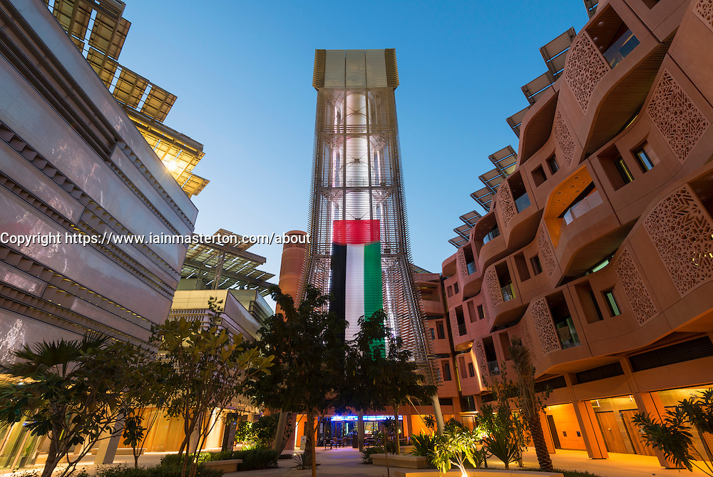 wind tower providing cooling to courtyard at Institute of Science and Technology at Masdar City Abu Dhabi United Arab Emirates