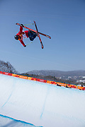 Murray Buchan, Great Britain, during the mens skiing halfpipe Qualification at the Pyeongchang 2018 Winter Olympics on February 20th 2018, at the Phoenix Snow Park in Pyeongchang-gun, South Korea.