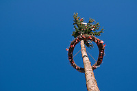 View of traditional German Maypole, Franconia, Germany