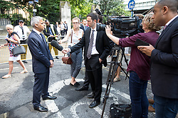 © Licensed to London News Pictures. 03/06/2018. London, UK. Mayor of London Sadiq Khan speaks to media on the anniversary of the London Bridge and Borough Market terror attacks. A series of events have taken place throughout the day, including a service of commemoration at Southwark Cathedral, the planting of an olive tree in the Cathedral grounds, a minute's silence at 4:30pm and the laying of flowers.  Photo credit : Tom Nicholson/LNP