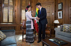 Aung San Suu Kyi, the civilian leader of Myanmar and an honourary Canadian citizen, meets with Canadian Prime Minister Justin Trudeau in his office on Parliament Hill in Ottawa, Wednesday June 7, 2017. Photo by Adrian Wyld/The Canadian Press/ABACAPRESS.COM