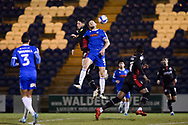 Scunthorpe United Ryan Loft (9) Colchester United Tommy Smith (5) battles for possession during the EFL Sky Bet League 2 match between Colchester United and Scunthorpe United at the JobServe Community Stadium, Colchester, England on 29 January 2021.