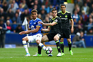 Dominic Calvert-Lewin of Everton passes the ball back under pressure from Cesar Azpilicueta of Chelsea. Premier league match, Everton v Chelsea at Goodison Park in Liverpool, Merseyside on Sunday 30th April 2017.<br /> pic by Chris Stading, Andrew Orchard sports photography.