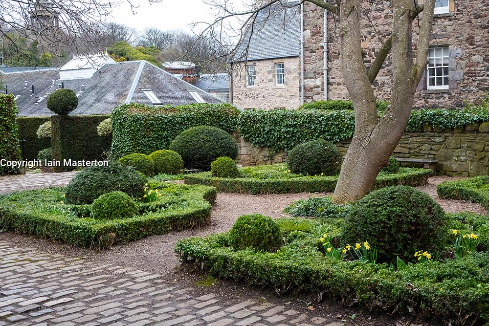 View of Dunbars Garden off Dunbars Close on Royal Mile ( High Street) in Old Town Edinburgh, Scotland, United Kingdom