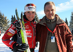 Slovenian cross-country skier Petra Majdic and Damjan Pintar of Unitur Rogla at 10th OPA - Continental Cup 2008-2009, on January 17, 2009, in Rogla, Slovenia.  (Photo by Vid Ponikvar / Sportida)