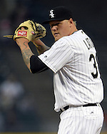 CHICAGO - APRIL 19:  Mat Latos #38 of the Chicago White Sox pitches against the Los Angeles Angels on April 19, 2016 at U.S. Cellular Field in Chicago, Illinois.  The White Sox defeated the Angels 5-0.  (Photo by Ron Vesely)   Subject: Mat Latos