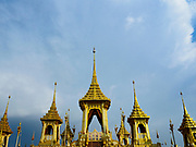 13 DECEMBER 2017 - BANGKOK, THAILAND: West side of the Royal Crematorium on Sanam Luang in Bangkok. The crematorium was used for the funeral of Bhumibol Adulyadej, the Late King of Thailand. He was cremated on 26 October 2017. The crematorium is open to visitors until 31 December 2017. It will be torn down early in 2018. More than 3 million people have visited the crematorium since it opened to the public after the cremation of the King.    PHOTO BY JACK KURTZ