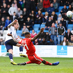 TELFORD COPYRIGHT MIKE SHERIDAN 23/3/2019 - James McQuilkin of AFC Telford shoots during the FA Trophy Semi Final fixture between AFC Telford United and Leyton Orient at the New Bucks Head