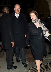 © Licensed to London News Pictures. 08/02/2016. London, UK. CHRIS GRAYLING and his wife SUSAN DILLSTONE  leaves The Brewery in London after the annual Conservative Party Black & White Ball, a Conservative Party fundraiser.  Photo credit: Ben Cawthra/LNP