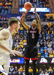 Dec 14, 2019; Morgantown, WV, USA; Nicholls State Colonels guard D'Angelo Hunter (0) shoots a three pointer during the first half against the West Virginia Mountaineers at WVU Coliseum. Mandatory Credit: Ben Queen-USA TODAY Sports