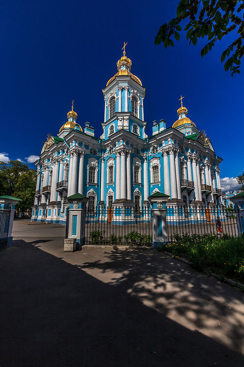 Naval Cathedral of St. Nicholas in St Petersburg, Russia. Naval Cathedral of St. Nicholas contains many 18th-century icons, ten magnificent paintings and walls that convey the history of the Russian navy.