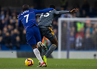 Football - 2018 / 2019 Premier League - Chelsea vs. Leicester City<br /> <br /> Ngolo Kante (Chelsea FC)  claws at the back of Wilfred Ndidi (Leicester City) as he tries to go past at Stamford Bridge <br /> <br /> COLORSPORT/DANIEL BEARHAM
