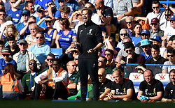 Liverpool manager Jurgen Klopp reacts on the touchline during the Premier League match at Stamford Bridge, London.