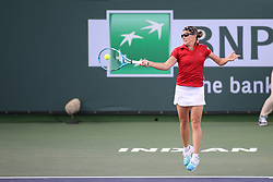 March 9, 2019 - Indian Wells, CA, U.S. - INDIAN WELLS, CA - MARCH 09: Kirsten Flipkens (BEL) hits a forehand during the BNP Paribas Open on March 9, 2019 at Indian Wells Tennis Garden in Indian Wells, CA. (Photo by George Walker/Icon Sportswire) (Credit Image: © George Walker/Icon SMI via ZUMA Press)