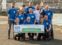 """Pictured: <br /> Athlete Maria Lyle, was joined by rugby legend Scott Hastings and his wife Jenny  today in Edinburgh to launch national Mental Health charity Support in Mind Scotland's """"100 Streets Challenge"""" for 2019. The campaign encourages people to walk, run or cycle 100 streets in their communities. <br /> <br />Ger Harley 