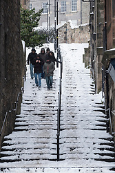 the historic Vennel steps at Grassmarket under snow in Edinburgh Old Town, Scotland, United Kingdom