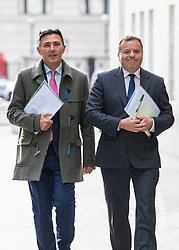 © Licensed to London News Pictures. 04/11/2018. London, UK. Co-founder of the Leave.EU campaign Arron Banks (R) and Andy Wigmore (L) arrive at BBC Broadcasting House to appear on The Andrew Marr Show. Photo credit: Rob Pinney/LNP