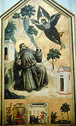 Stigmatisation of St Francis' (1300) Tempera and gold. St Francis of Assisi (1181-1226).  Giotto (Di Bondone) c1266-1337. Italian painter. St Francis of Assisi (1181-1226). Louvre, Paris.