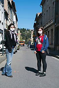 two people in the street with mask during covid 19 crisis Limoux France April 2020