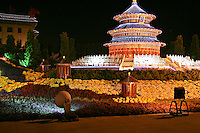 Illuminated model of the Temple of Heaven in Tiananmen Square.