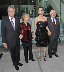 Kirk Douglas Dies At 103 - Michael Douglas, Anne Buydens Douglas, Catherine Zeta Jones and Kirk Douglas attend the The Film Society of Lincoln Center's 37th Annual Chaplin Award gala at Alice Tully Hall in New York City, USA on May 24, 2010. Photo by S.Vlasic/ABACAPRESS.COM (Pictured: Michael Douglas, Anne Buydens Douglas, Catherine Zeta Jones, Kirk Douglas)