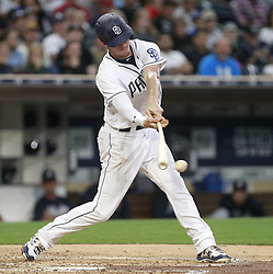 June 28, 2017 - San Diego, CA, USA - The Padres' San Diego Wil Myers hits an RBI single against the Atlanta Braves in the third inning at Petco Park in San Diego on Wednesday, June 28, 2017. (Credit Image: © Hayne Palmour Iv/TNS via ZUMA Wire)