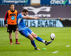 Jason Tovey of Dragons kicks a penalty<br /> <br /> Photographer Simon King/Replay Images<br /> <br /> Guinness PRO14 Round 18 - Ospreys v Dragons - Saturday 23rd March 2019 - Liberty Stadium - Swansea<br /> <br /> World Copyright © Replay Images . All rights reserved. info@replayimages.co.uk - http://replayimages.co.uk