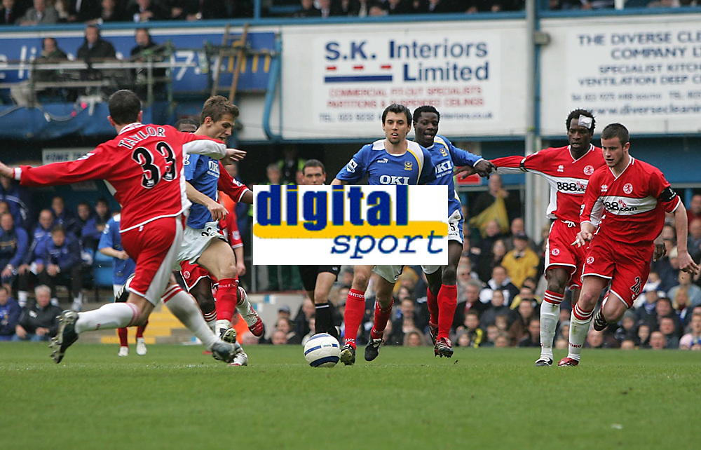 Photo: Lee Earle.<br /> Portsmouth v Middlesbrough. The Barclays Premiership. 15/04/2006. Pompey's Gary O'Neil (2ndL) fires in the opening goal.
