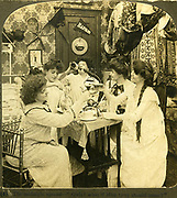 Humorous image of Midnight pranks of American college women 1903 drinking and partying, Harvard University, USA