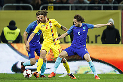 (l-r) Davy Propper of Holland, Eric Bicfalvi of Romania, Daley Blind of Holland during the friendly match between Romania and The Netherlands on November 14, 2017 at Arena National in Bucharest, Romania