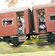 People On Board A Crowded Train in Sri Lanka