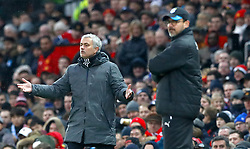 "Manchester United manager Jose Mourinho gestures on the touchline during the Premier League match at Old Trafford, Manchester. PRESS ASSOCIATION Photo. Picture date: Saturday February 3, 2018. See PA story SOCCER Man Utd. Photo credit should read: Martin Rickett/PA Wire. RESTRICTIONS: EDITORIAL USE ONLY No use with unauthorised audio, video, data, fixture lists, club/league logos or ""live"" services. Online in-match use limited to 75 images, no video emulation. No use in betting, games or single club/league/player publications."