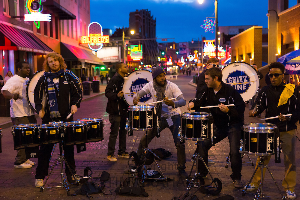 Grizz Line drummers and percussion band live in Beale Street entertainment district famous for Rock and Roll, Jazz and Blues