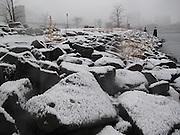 Winter under the Manhattan Bridge in Brooklyn, New York