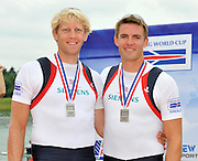Munich, GERMANY, GBR M2- bow. Peter REED and Andy TRIGGS HODGE,  pair final. 2010 FISA World Cup. Munich Olympic Rowing Course, Sunday  20/06/2010   [Mandatory Credit Peter Spurrier/ Intersport Images]