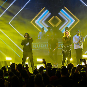 Ella Henderson and Rudimental Performances at Westfield London's 10-year birthday celebrations at Westfield Square on 30 October 2018, London, UK.