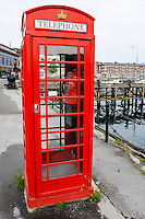 Norway, Troms. Harstad is the second largest city and municipality by population in Troms county. A British telephone box.