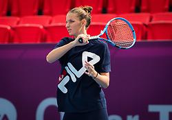 February 11, 2019 - Doha, QATAR - Karolina Pliskova of the Czech Republic practices ahead of the 2019 Qatar Total Open WTA Premier tennis tournament (Credit Image: © AFP7 via ZUMA Wire)