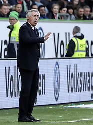 WOLFSBURG, April 30, 2017  Bayern Munich's head coach Carlo Ancelotti gives instructions during the German Bundesliga match between VfL Wolfsburg and Bayern Munich in Wolfsburg, Germany, on April 29, 2017. Bayern Munich won 6-0 to clinch its fifth consecutive Bundeslisga title ahead of schedule at the 31st round on Saturday. (Credit Image: © Shan Yuqi/Xinhua via ZUMA Wire)