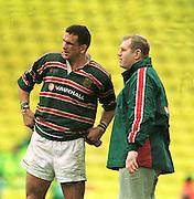 Heineken Cup Semi Final; Gloucester v Leicester Tigers..Tiger's Skipper Martin Johnson and manager Dean Richards.at the end of the game.... ...........   [Mandatory Credit, Peter Spurier/ Intersport Images].
