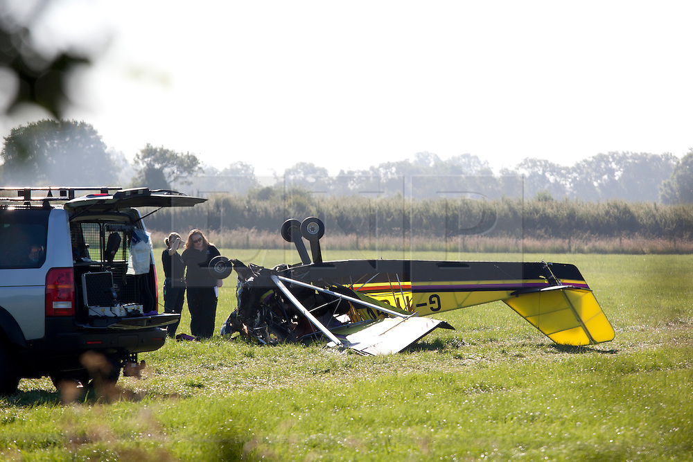 © Licensed to London News Pictures. 15/07/2013. Fenny Drayton, Leicestershire, UK. Pictured, the light plane that came down in fields near Fenny Drayton,Leicestershire, killing two people. Photo credit : Dave Warren/LNP