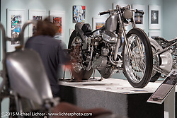 """Custom Panhead by Kaichiroh """"Kross"""" Kurosu of Cherry's Company, Tokyo, Japan in Michael Lichter's Motorcycles as Art annual exhibition titled """"The Naked Truth"""" at the Buffalo Chip Gallery during the 75th Annual Sturgis Black Hills Motorcycle Rally.  SD, USA.  August 4, 2015.  Photography ©2015 Michael Lichter."""