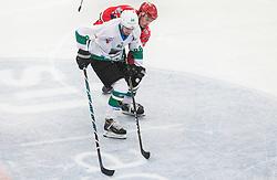 Miha Zajc of Olimpija vs Nik Pem of Jesenice  during ice hockey match between HDD SIJ Acroni Jesenice and HK SZ Olimpija in 10th Round of AHL - Alps Hockey League 2017/18, on October 14, 2017 in Arena Podmezakla, Jesenice, Slovenia. Photo by Vid Ponikvar / Sportida