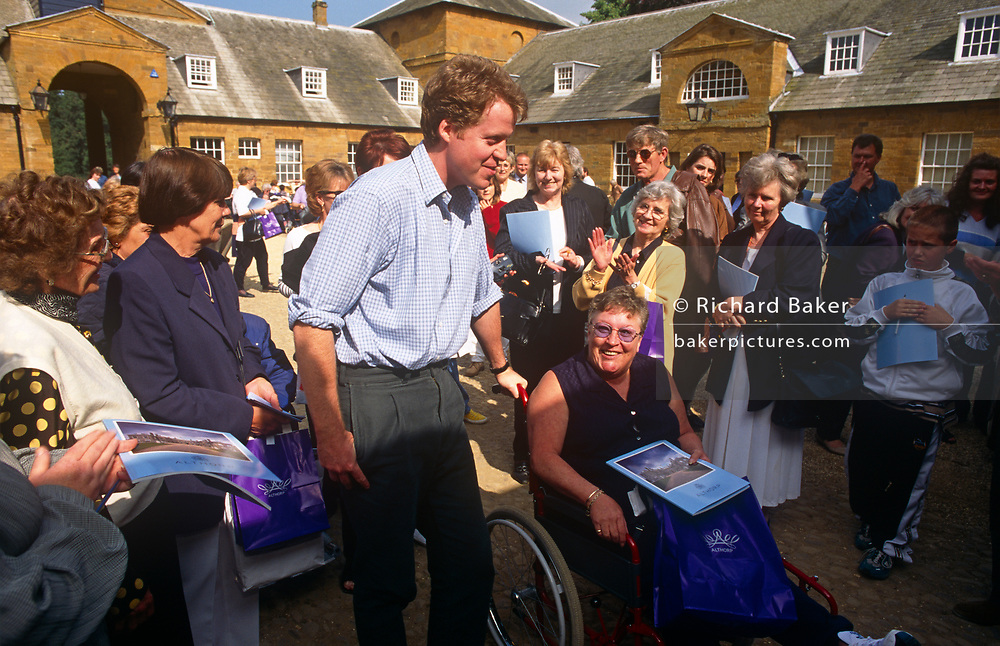 The Earl Spencer, brother to Diana Princess of Wales, meets the public allowed in to the family ancestral home, Althorp, the year after his sister's death in 1997, on 21st May 1998, in Althorp, Northamptonshire, England.