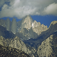 14,496 foot Mount Whitney, the highest peak in lower 48 states, dominates California's southern Sierra Nevada.