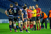 Referee John Lacey warns Fraser Mackenzie (#4) of Edinburgh Rugby during the Guinness Pro 14 2018_19 rugby match between Edinburgh Rugby and Isuzu Southern Kings at the BT Murrayfield Stadium, Edinburgh, Scotland on 5 January 2019.