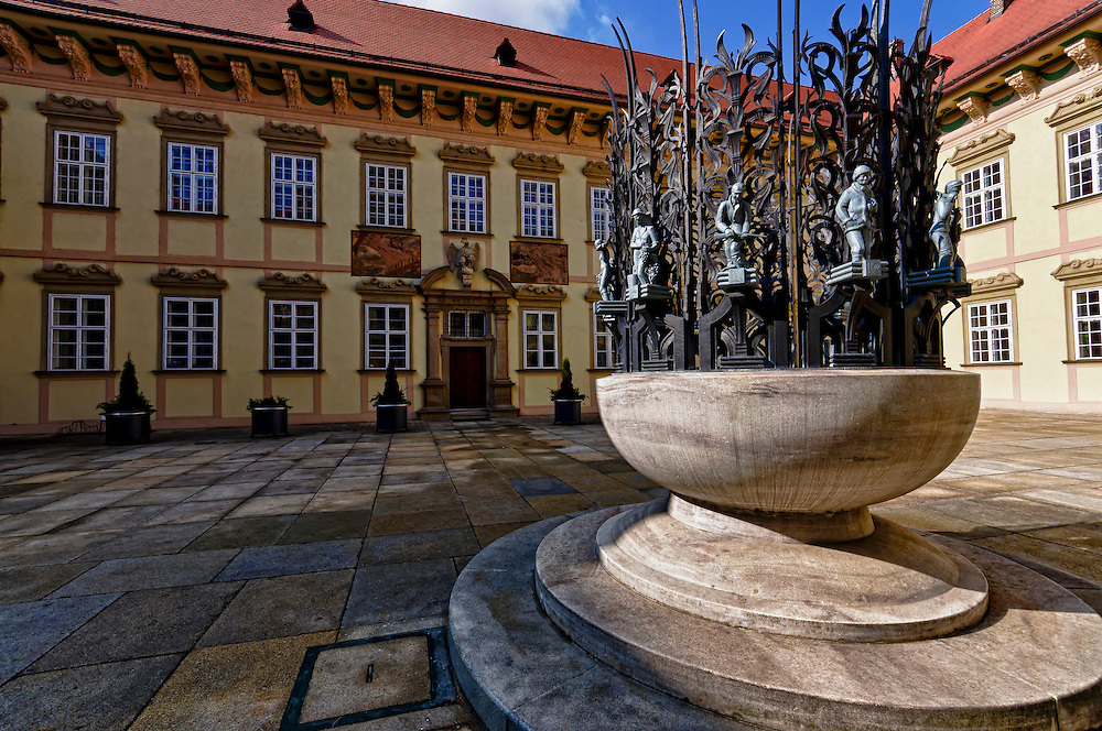 View of monument in the main patio and courtyard in the entrance of the New Town Hall in Brno, in the Czech Republic. Brno is the 2nd largest city in the Czech Republic and a very popular tourist destination.