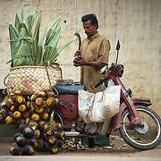 A street vendor selling sugar palm fruit on the road to Munar, Kerala.<br />