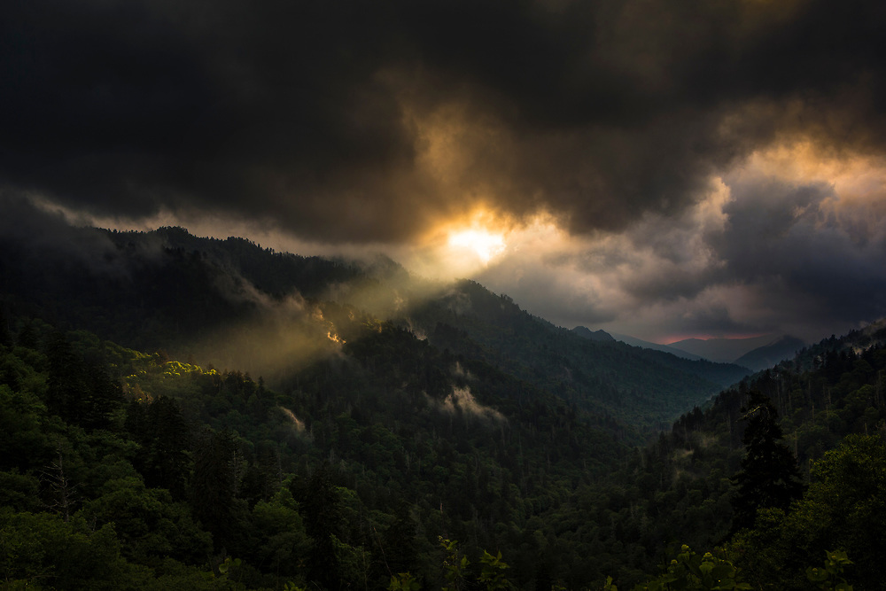 A ray of light shines over Morton Overlook in the Great Smoky Mountains National Park.