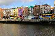 Colourful historic buildings north bank River Liffey city centre, Dublin, Ireland, Irish Republic